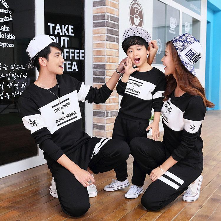 2018春季新款韩版纯棉拼色黑色圆领字母印花卫衣情侣装长袖亲子装