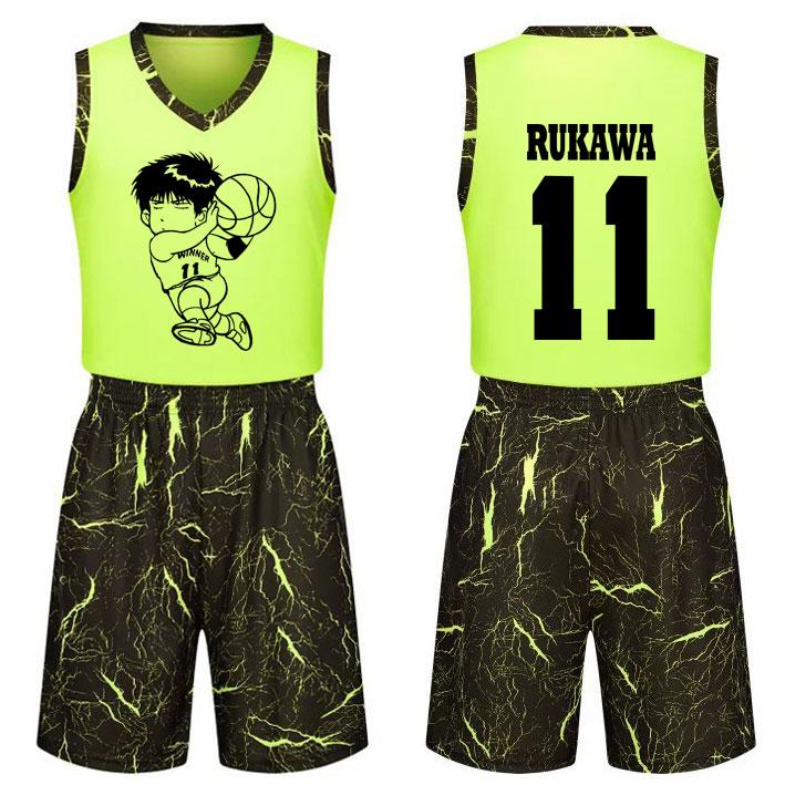 DIY个性流川枫球衣儿童学生男女篮球服套装定制篮球比赛服队服