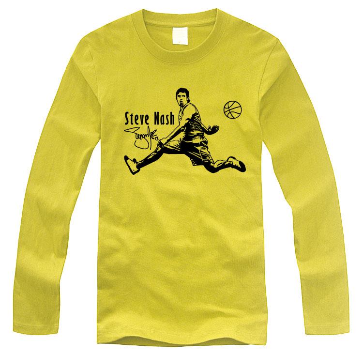 直销个性印花纳什黄色休闲运动长袖纯棉圆领宽松青少年男篮球T恤
