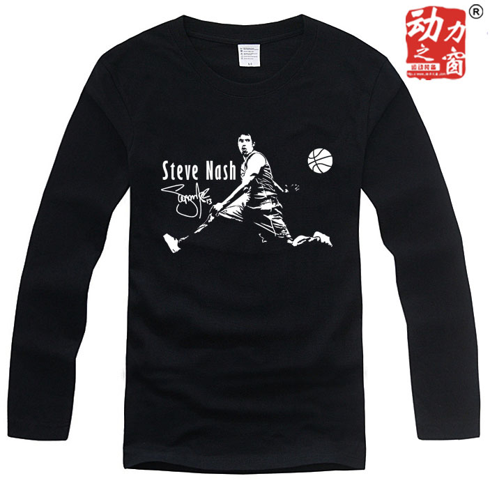 包邮个性印花纳什T恤青少年学生纯棉圆领男黑色休闲篮球运动长袖