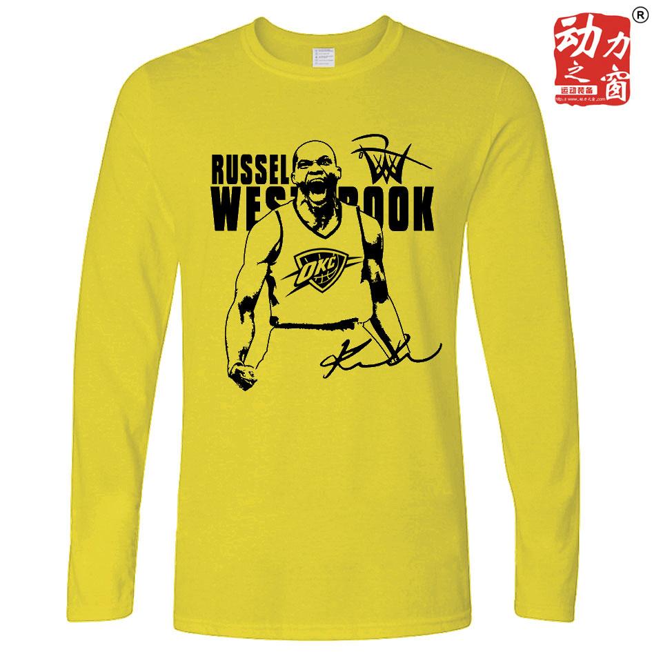 黄色宽松休闲运动长袖雷霆威少个性印花全棉圆领少年男子篮球T恤
