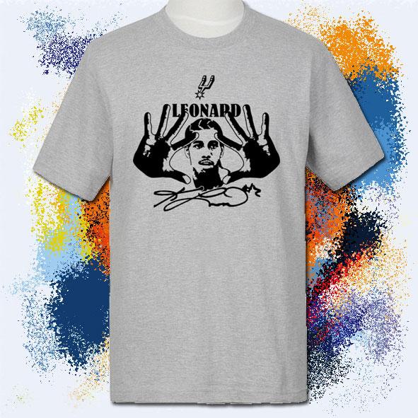 马刺莱昂纳德宽松加大短袖运动T恤纯棉圆领半袖球衣灰色男篮球T恤
