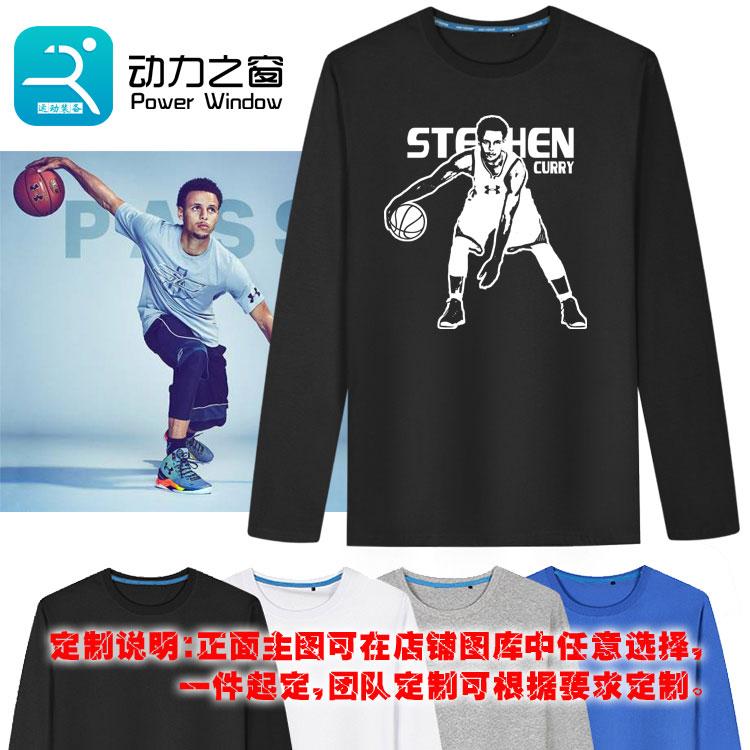 新款勇士库里T恤纯棉休闲运动长袖青少年黑色圆领上衣男子篮球T恤