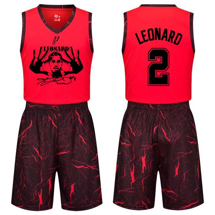 包邮莱昂纳德球衣男学生青少年篮球服套装团队定制篮球比赛服队服