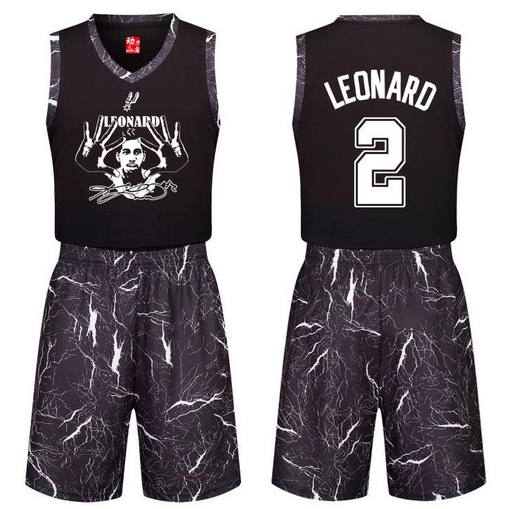 球迷版黑色莱昂纳德球衣个性篮球服套装DIY定制篮球比赛服队服男