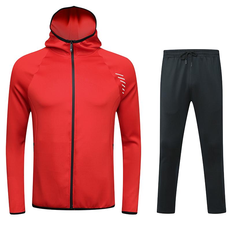 动力之窗体育2021时尚新款男休闲运动套装连帽外套户外长袖运动装定制队服印字