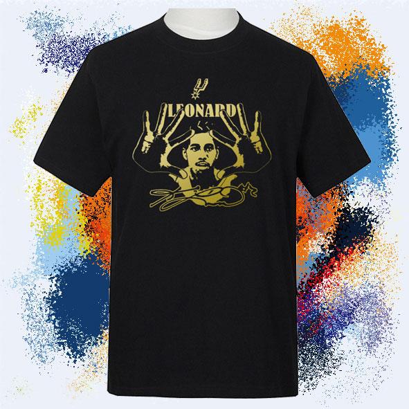 新款男装马刺莱昂纳德加大休闲运动短袖纯棉圆领半袖黑色篮球T恤
