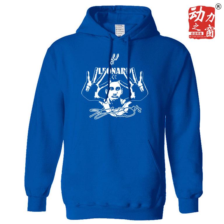 个性男马刺莱昂纳德纪念版套头连帽卫衣宽松加大加绒蓝色运动外套