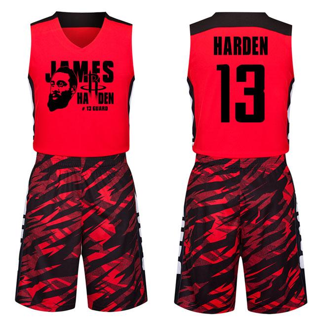 球迷版13号红色哈登球衣街头潮流青年男子篮球服套装定制篮球队服