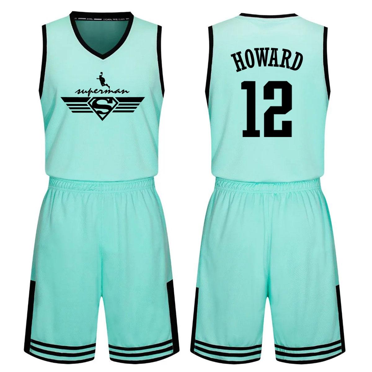 包邮新款个性超人版霍华德球衣青少年儿童团队定制篮球服队服套装