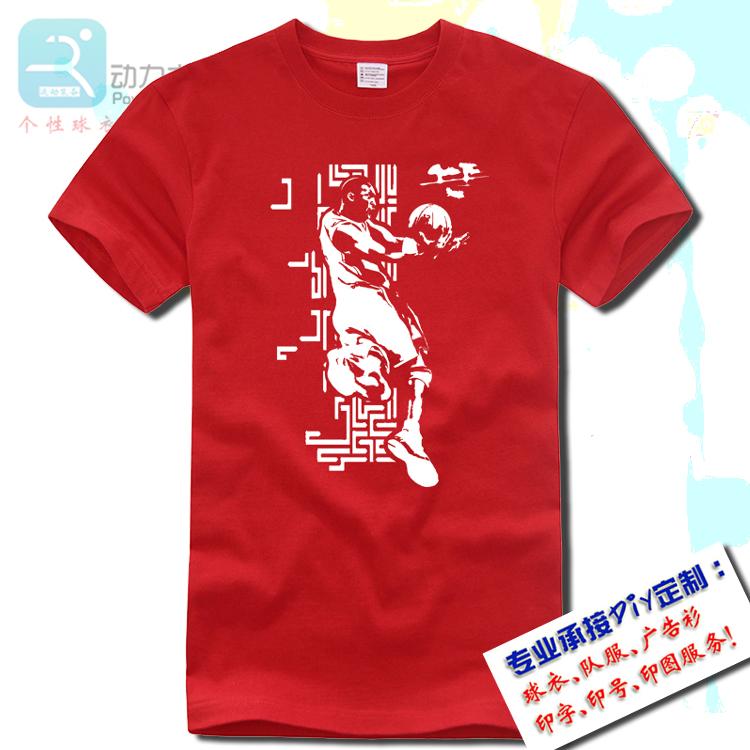 夏季青少年学生纯棉圆领男篮球运动短袖上衣宽松加大红色科比T恤