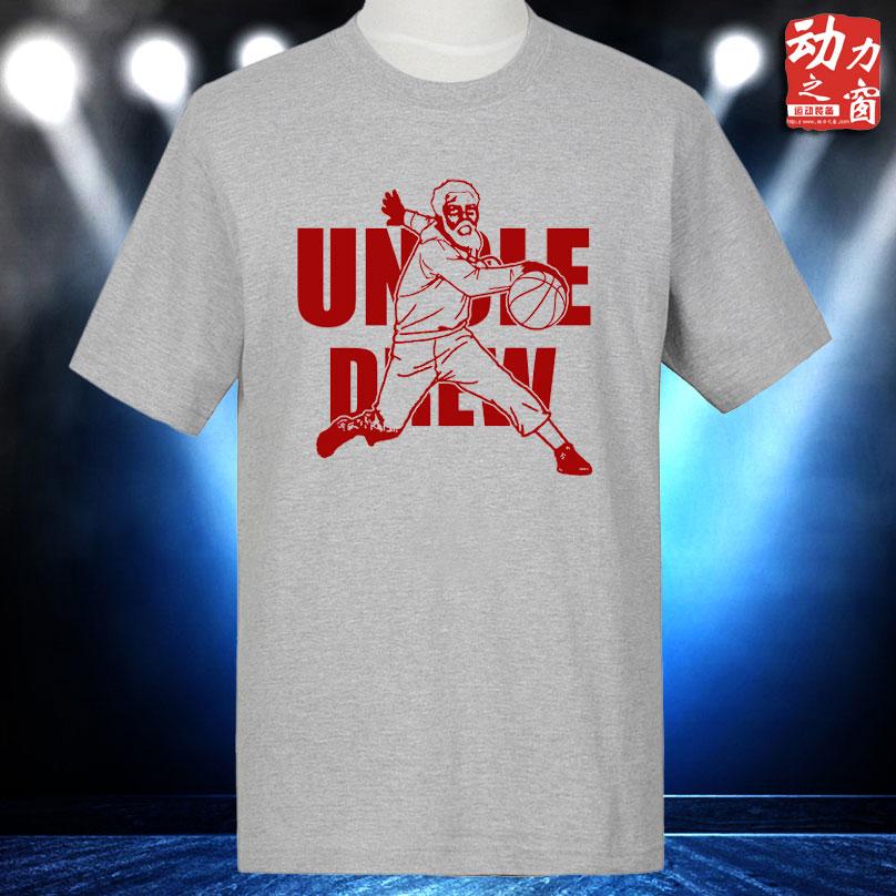 新款德鲁大叔纯棉圆领半袖灰色街头篮球T恤欧文宽松加大运动短袖