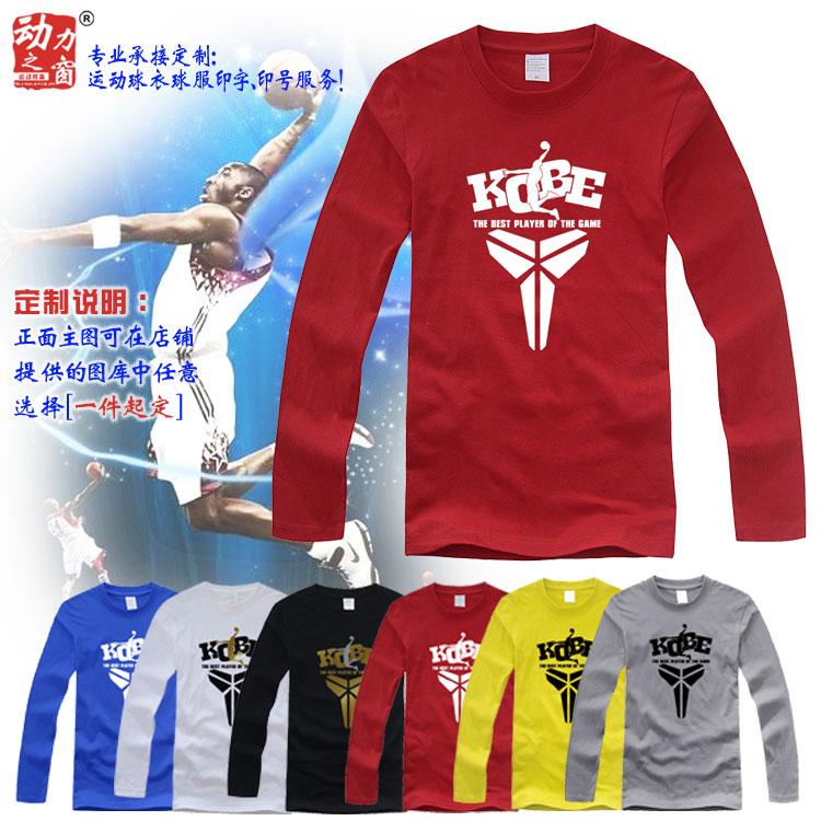 包邮红色科比长袖T恤纯棉圆领宽松休闲青少年男篮球运动T恤长袖衫
