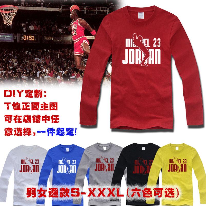 包邮个性红色JORDAN飞人T恤纯棉圆领长袖上衣宽松男子篮球运动T恤