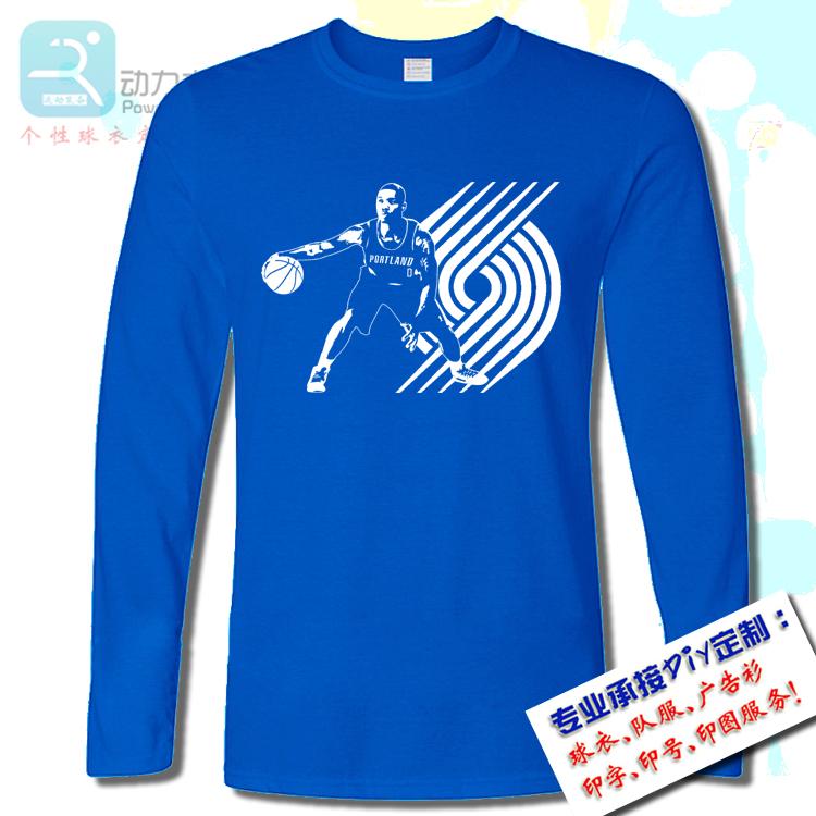 包邮开拓者利拉德T恤个性定制球衣球服印字纯棉圆领蓝色训练跑步篮球运动长袖
