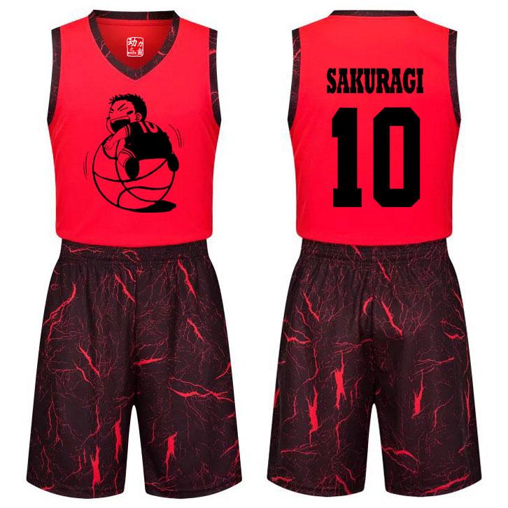 个性灌篮高手樱木花道球衣学生青少年儿童篮球服套装篮球队服定制