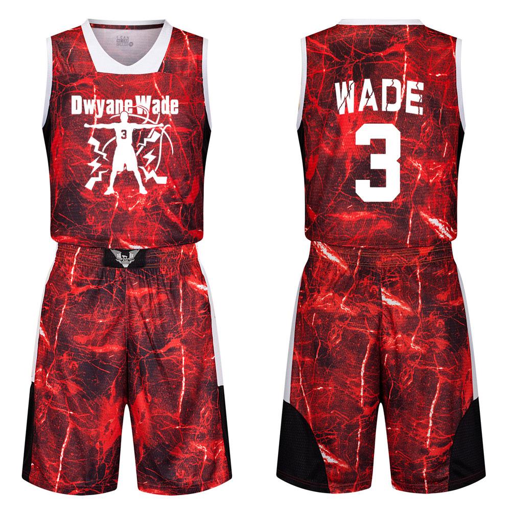 包邮个性3号韦德球衣青少年学生迷彩篮球服套装定制比赛训练队服