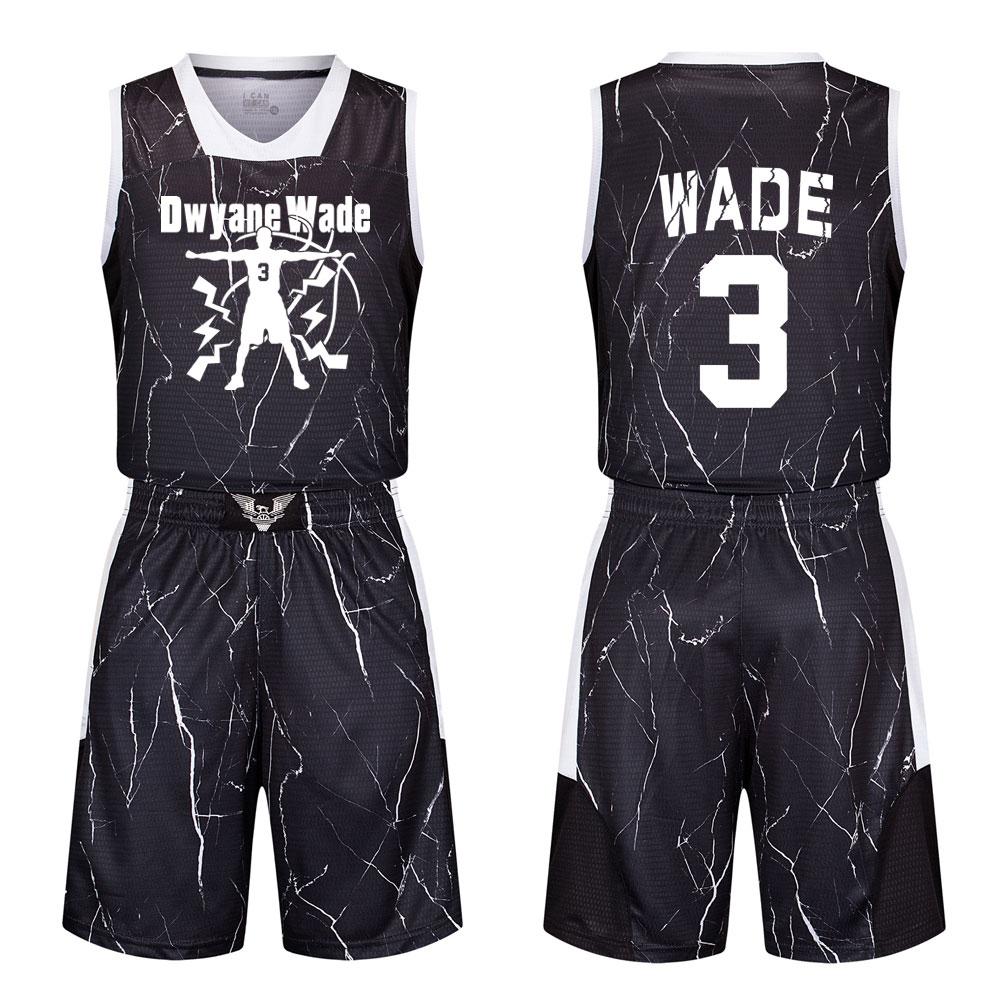 包邮闪电侠韦德球衣少年男女两侧口袋迷彩篮球服套装个性定制队服