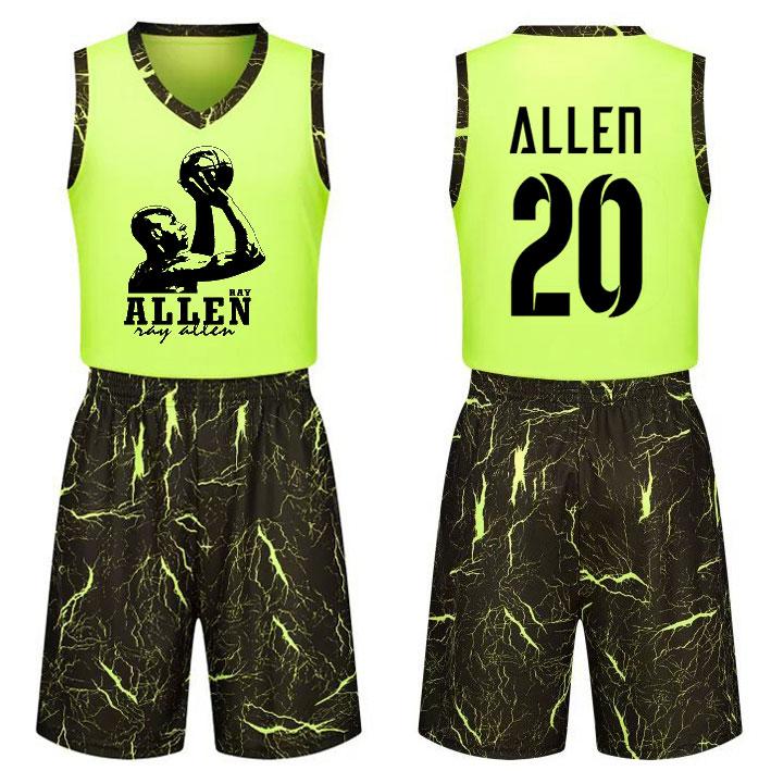 包邮个性雷阿伦球衣定制训练比赛青少年男女学生儿童篮球队服套装