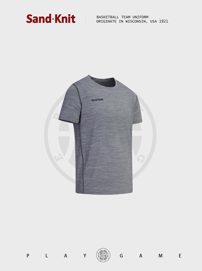 动力之窗新款森耐特透气排汗灰色男士休闲运动T恤跑步健身弹力圆领上衣半袖衫