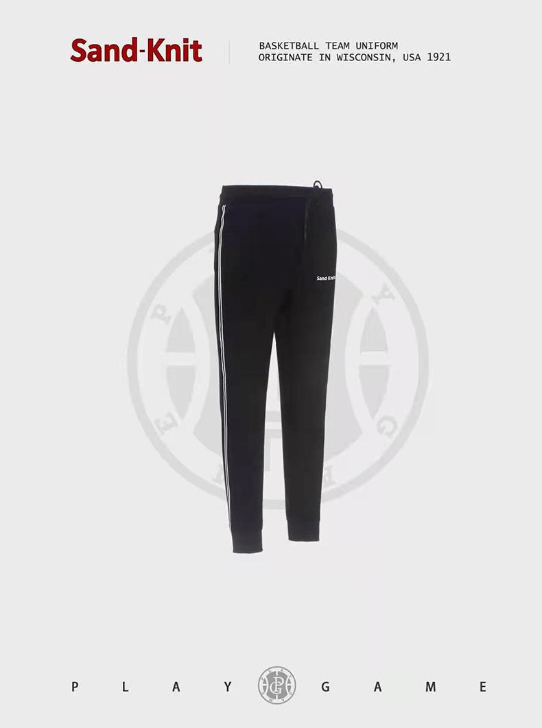 动力之窗2021森耐特系带弹力运动裤男收口黑色休闲运动长裤九分裤