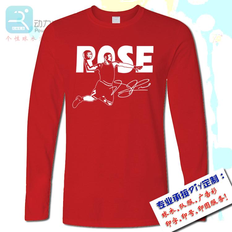 2019新款青少年男宽松ROSE罗斯T恤纯棉圆领灰色篮球训练运动长袖